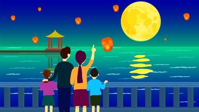 中秋節の家族の喜び イラスト素材 イラスト画像