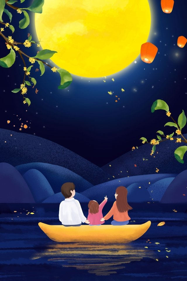 mid autumn festival family reunion enjoying the moon llustration image