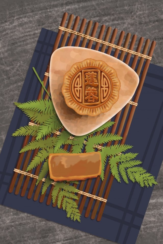 mid autumn festival food lotus moon cake llustration image