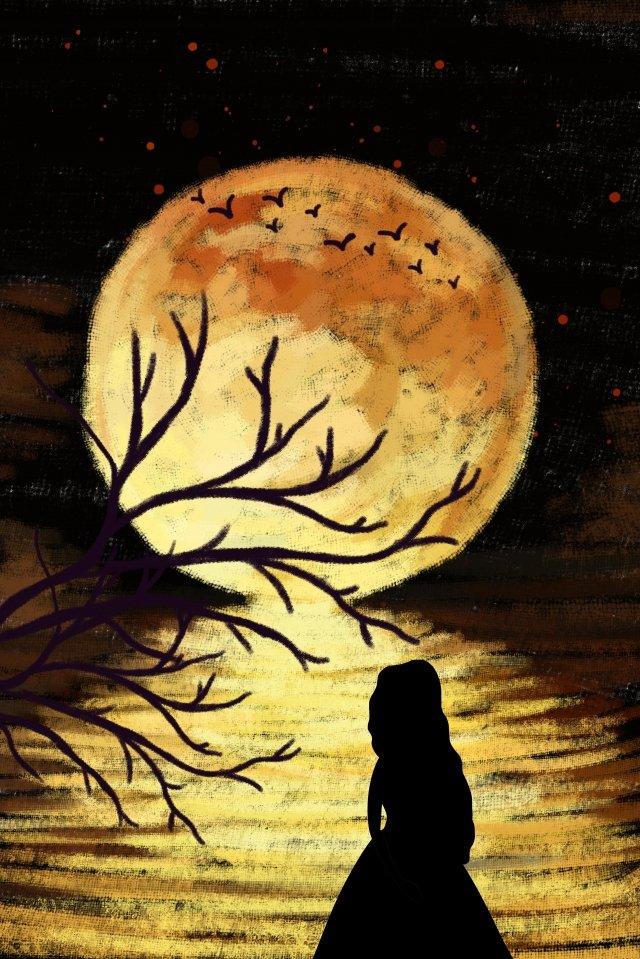中秋節滿月思鄉月亮 插畫素材