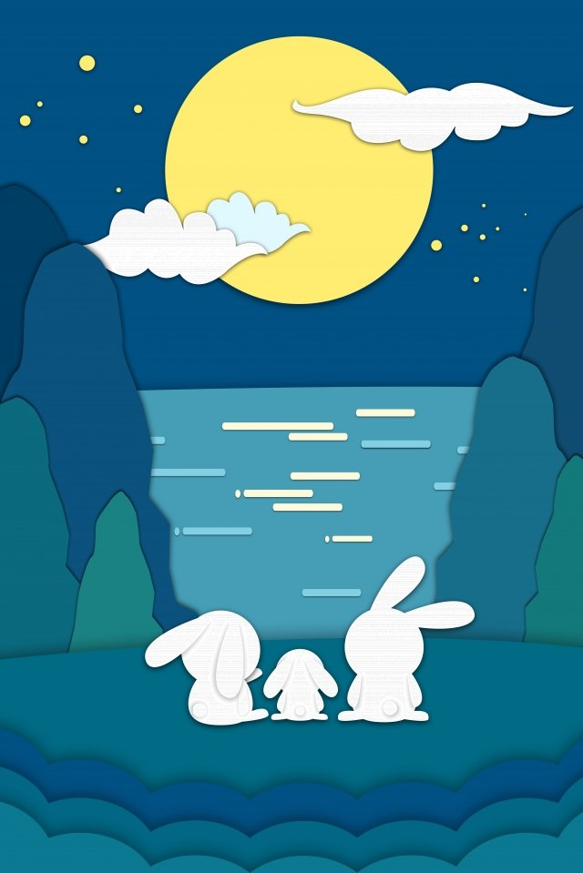 mid autumn festival full moon jade rabbit rabbit illustration image