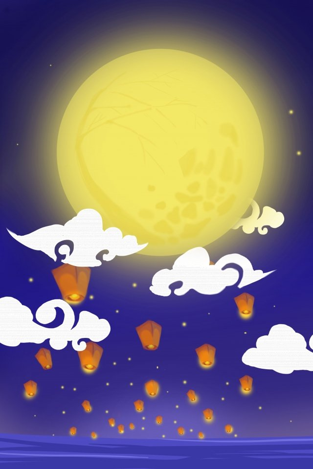 mid autumn festival full moon kongming lantern llustration image