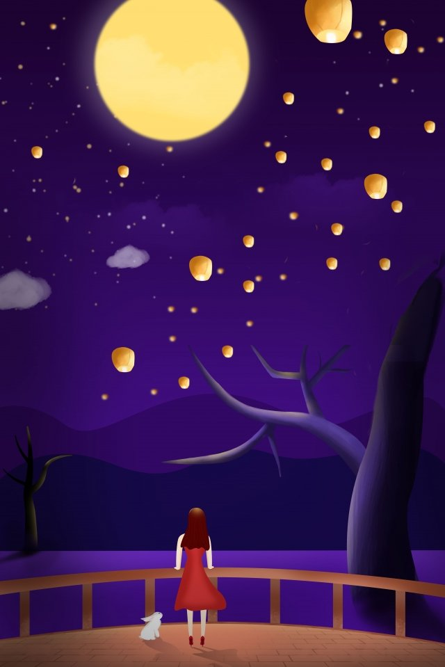 mid autumn festival girl enjoying the moon moon llustration image