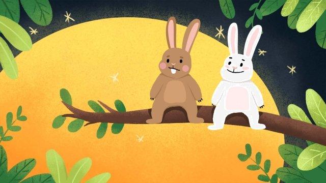 Tết trung thu Bunny và Moon Minh họa Tết trung thu MinhThu  Minh  đôi PNG Và PSD illustration image