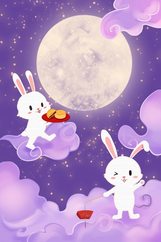 中秋節玉兔月餅月亮 中秋節快樂 插畫圖片