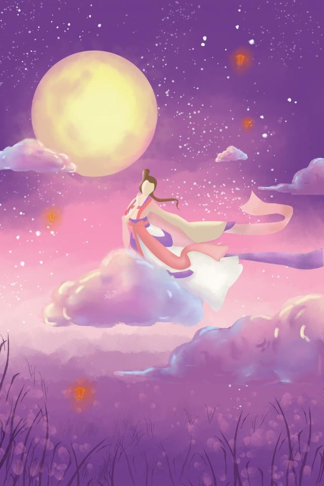 中秋節中秋嫦娥圓月亮 中秋節快樂 插畫素材 插畫圖片