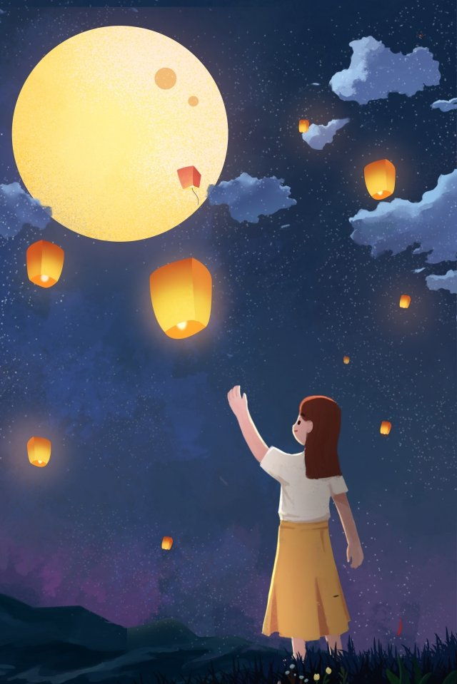 mid autumn festival mid autumn enjoying the moon moon llustration image illustration image