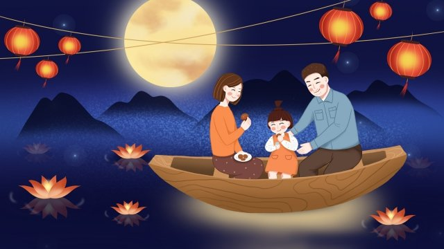 中秋節中秋の昆明ランタン川ライト イラスト素材