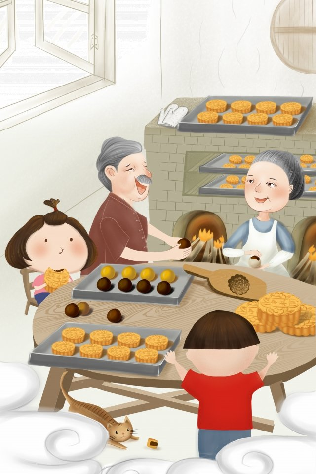 mid autumn festival mid autumn moon cake festival reunion festival llustration image illustration image