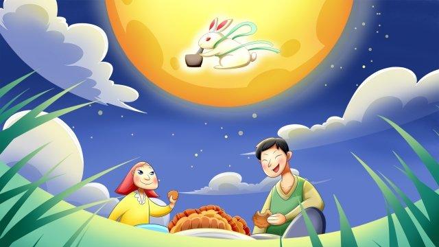 中秋節中秋月亮玉兔 插畫素材