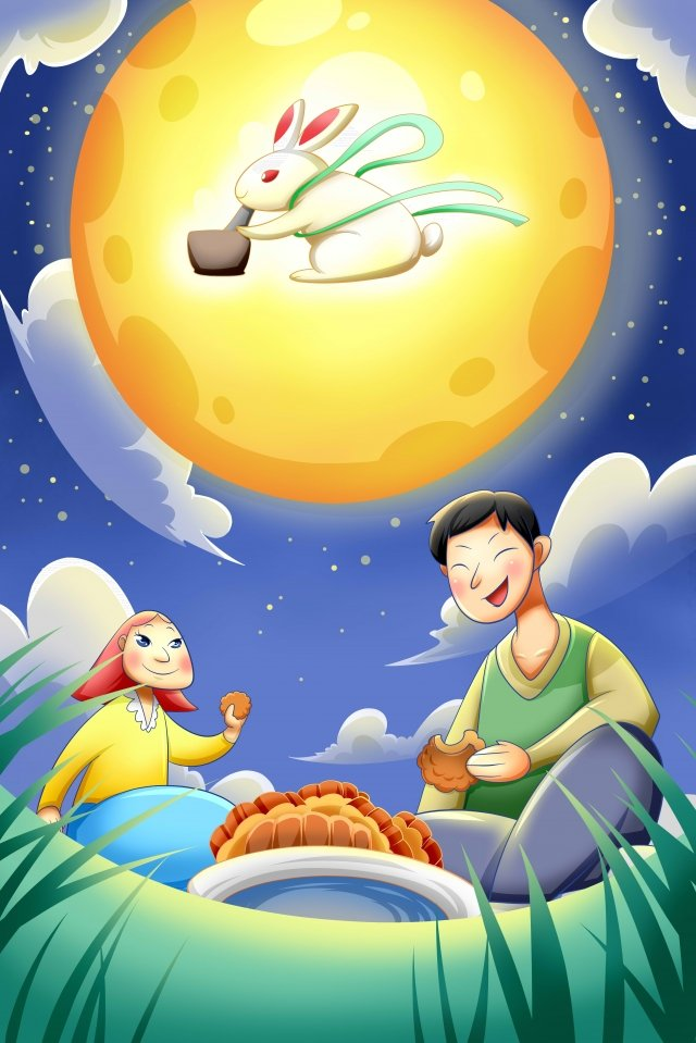 mid-autumn festival mid autumn moon jade rabbit, Night, Hand Painted, Illustration illustration image