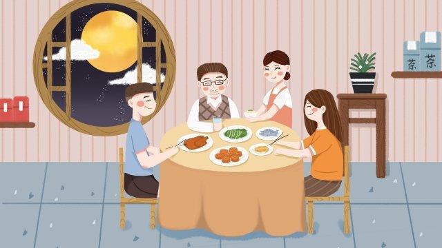 中秋節中秋圓月亮月亮 插畫素材 插畫圖片