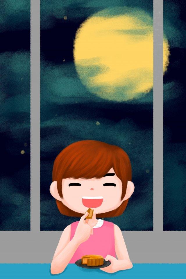 中秋節月餅女孩月亮 插畫素材