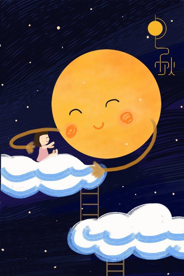 mid-autumn festival moon good night quiet, Be Quiet, Blue, Hand Painted illustration image