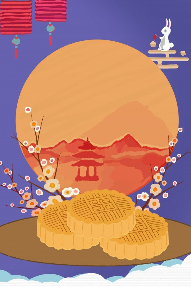 mid autumn festival moon moon cake cartoon llustration image