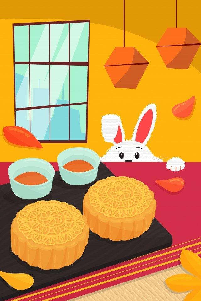 festival de mid autumn mooncake festival comendo bolo de lua jade coelho Material de ilustração