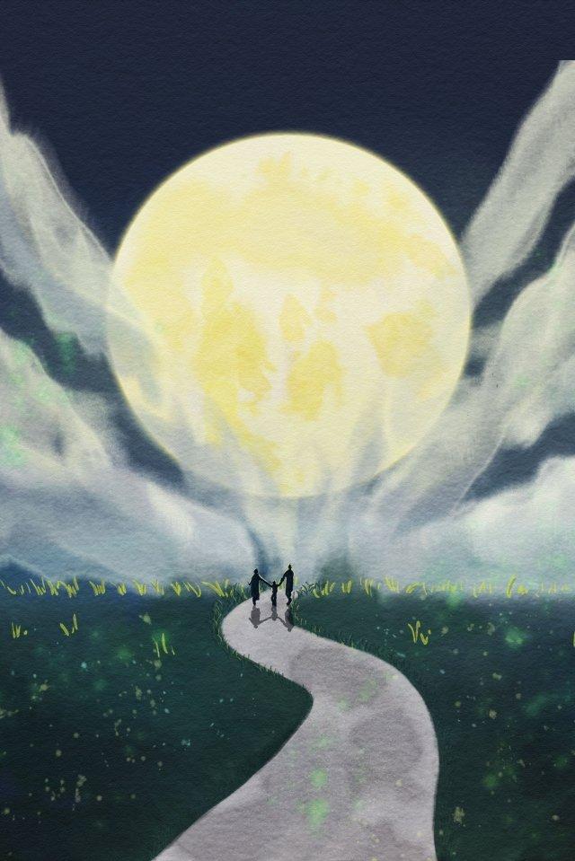 中秋節の再会満月ホームシック イラスト素材