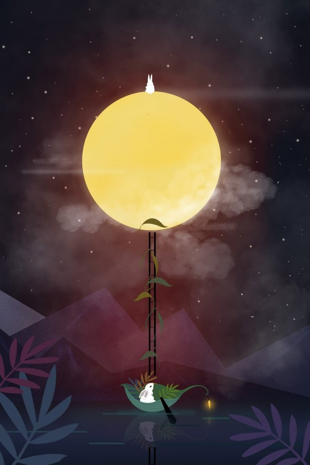 mid autumn festival the beautiful moon rabbit starry autumn festival beautiful star sky autumn festival moon llustration image