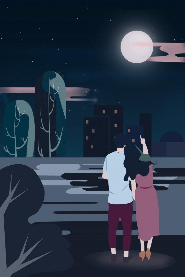 中秋節暖かいカップル感謝月イラスト中秋節夜ツアー屋外中秋節暖かい月 イラスト素材 イラスト画像