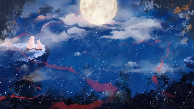 mid autumn hand painted starry sky moon llustration image