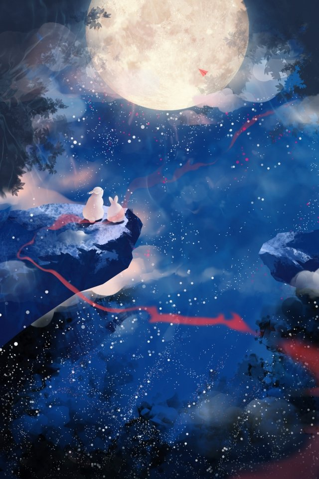 mid autumn hand painted starry sky moon, Moon Rabbit, Ribbon, Beautiful illustration image