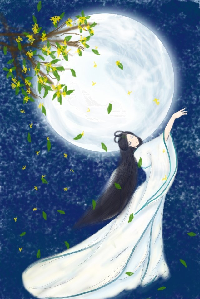 mid autumn illustration moon mid autumn festival illustration image