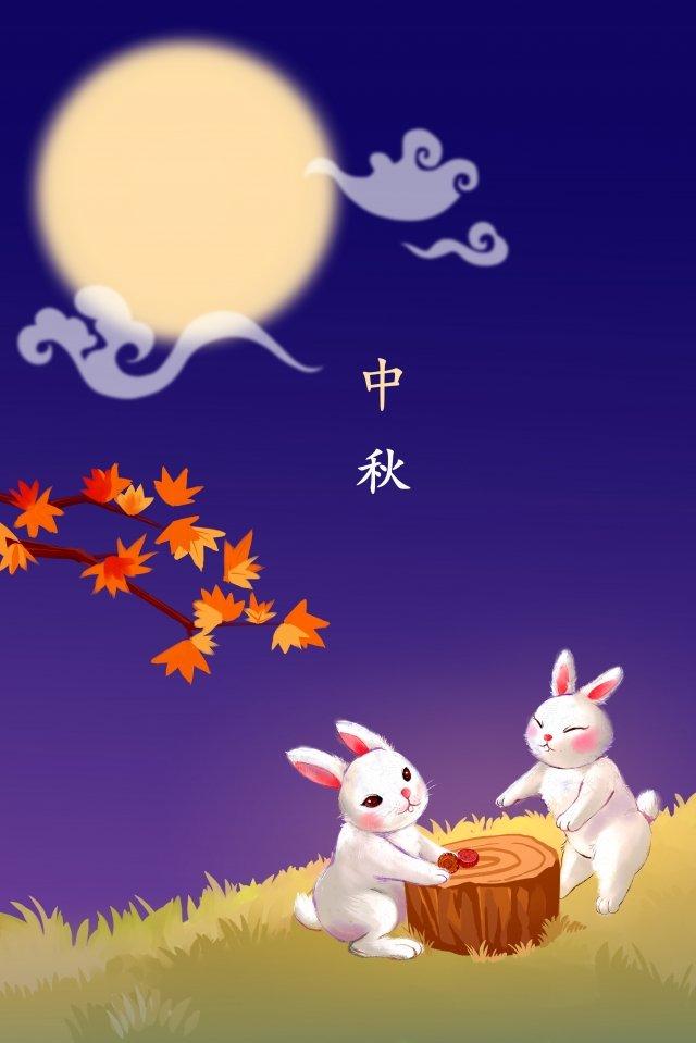 中秋玉兔子夜空圖 中秋節快樂 插畫素材