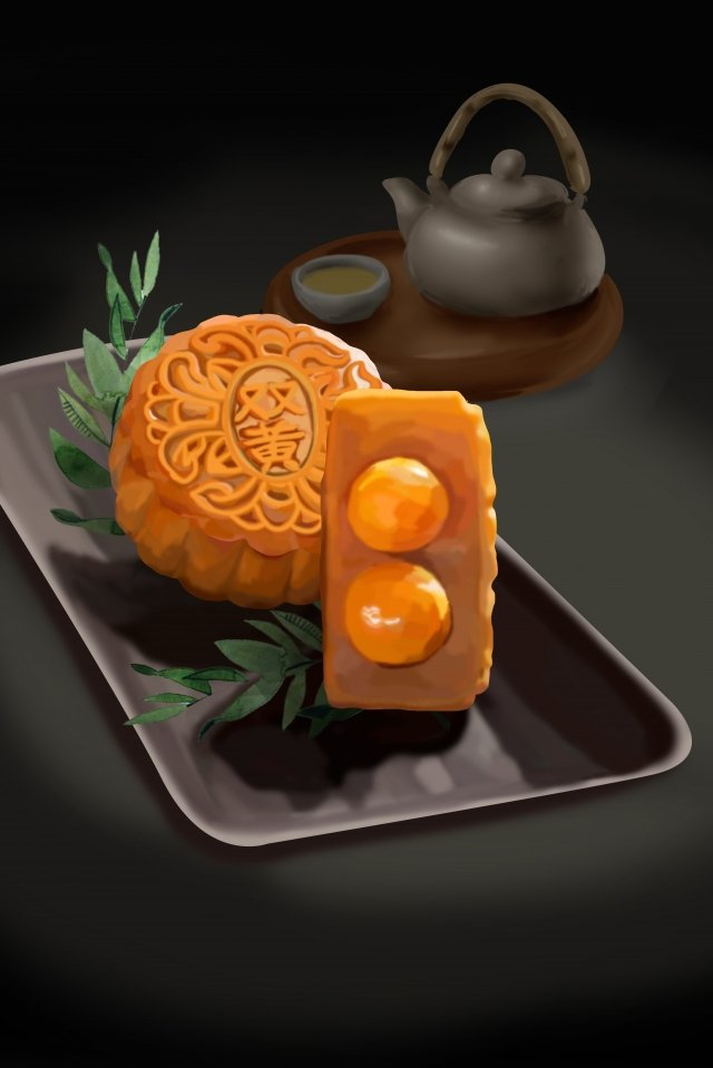 mid autumn mid autumn festival food double yellow moon cake llustration image illustration image
