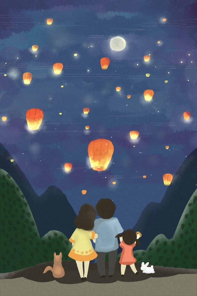 meados de outono mid autumn festival kongming lanterna reunião Material de ilustração
