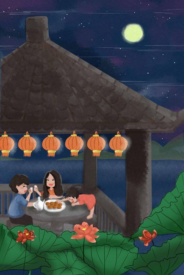 mid autumn mid-autumn festival reunion liqueur, Moon Cake, Moon, Appreciation illustration image