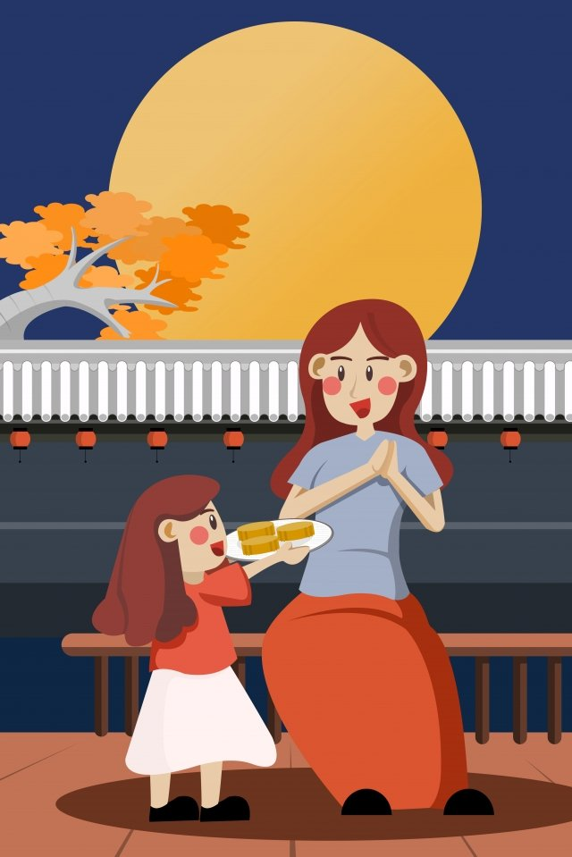mid autumn moon mother mother and daughter llustration image illustration image