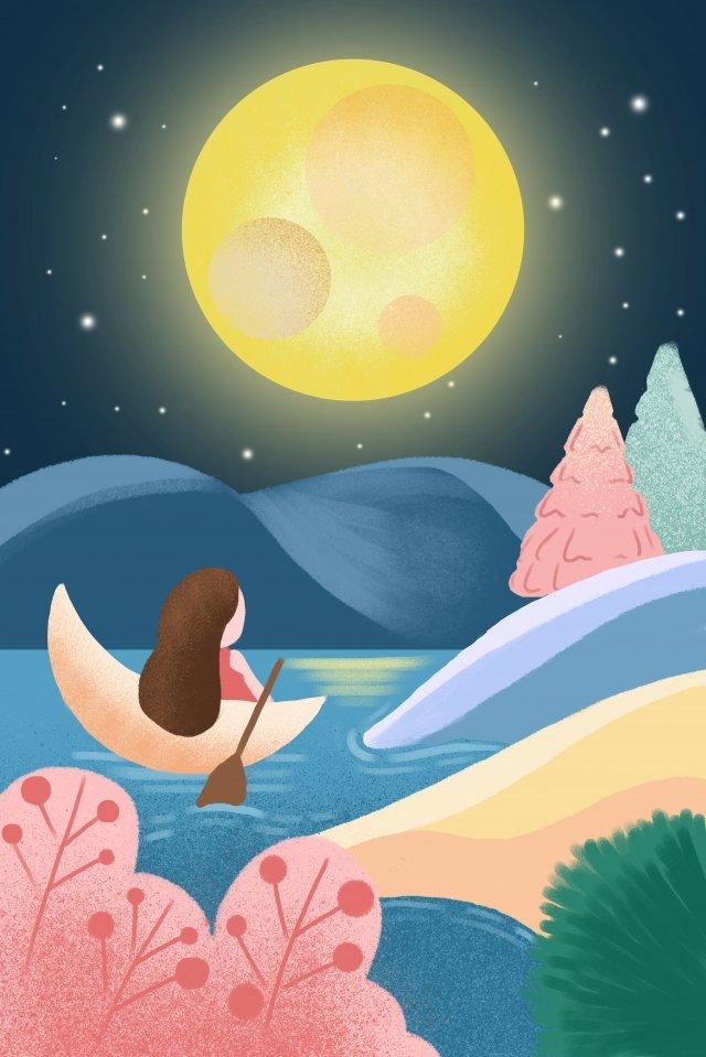 mid autumn night moon enjoying the moon llustration image