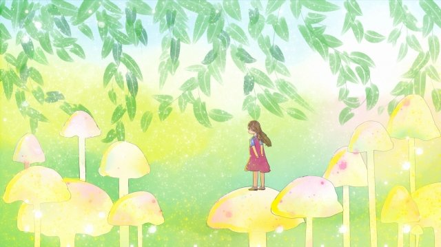 midsummer beautiful hand painted self-healing system, Girl, Mushroom, Cartoon illustration image