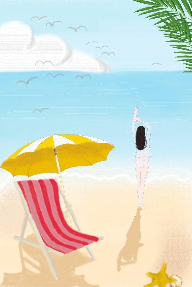 한 여름 좋은 시간 해변 삽화 소재