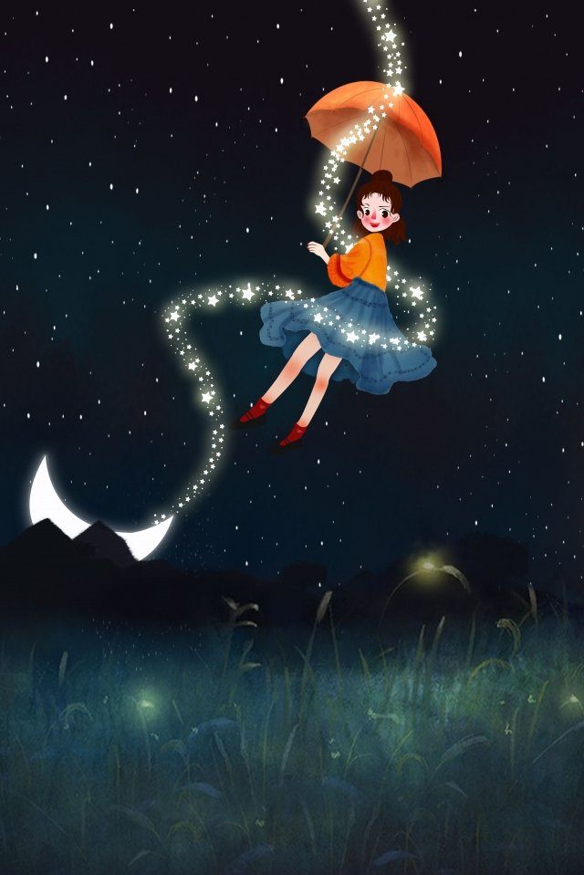 midsummer night flying umbrella night, Starry Sky, Girl, Dream illustration image