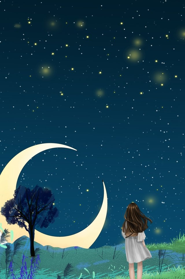 midsummer night fresh starry sky night llustration image illustration image