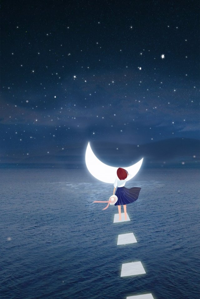 midsummer night maritime bright moon road, Good Night, Startup Page, Girl illustration image