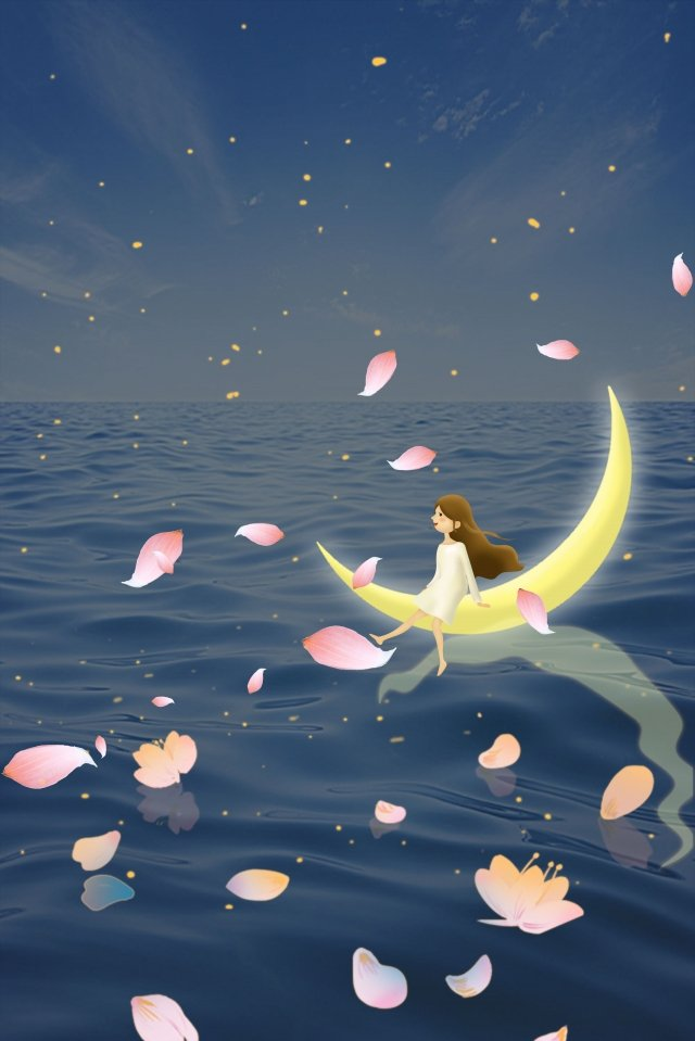 midsummer night moon good night night, Sea, Petal, Girl illustration image