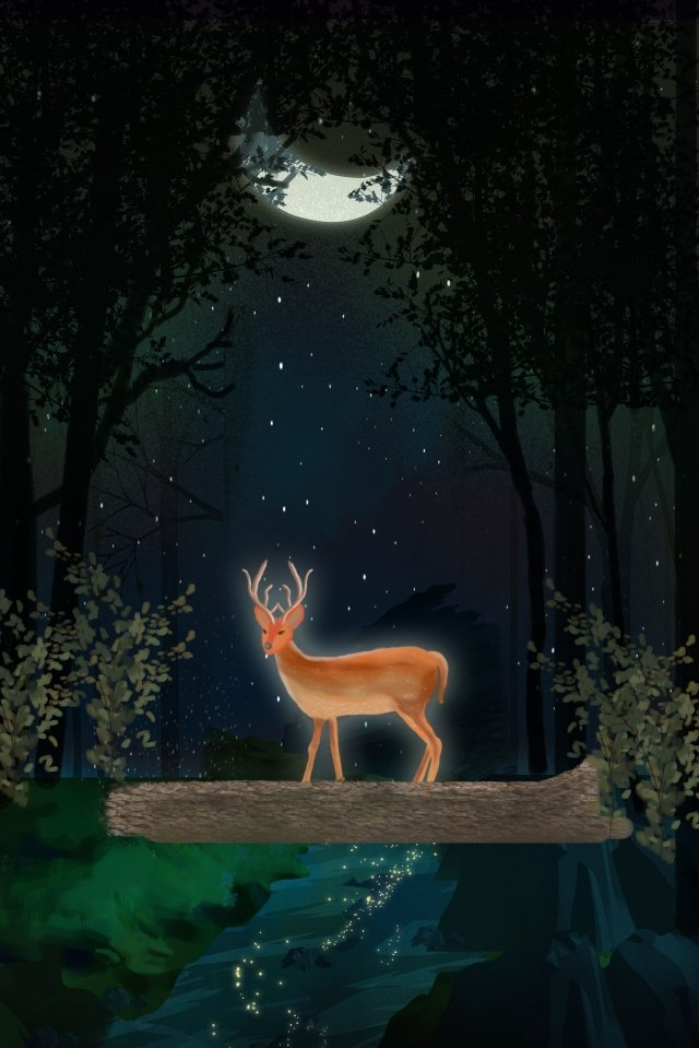 midsummer night moonlight deer night, Good Night, Water Flow, Forest illustration image