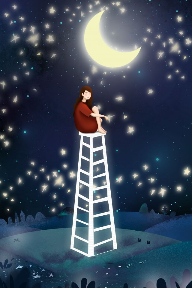 真夏の夜の月明かりに一番近い女の子 真夏の夜 月光 月 10代の少女 夜 星空 夢 静かな はしご 座っている女の子 おやすみなさい真夏の夜の月明かりに一番近い女の子  真夏の夜  月光 PNGおよびPSD illustration image