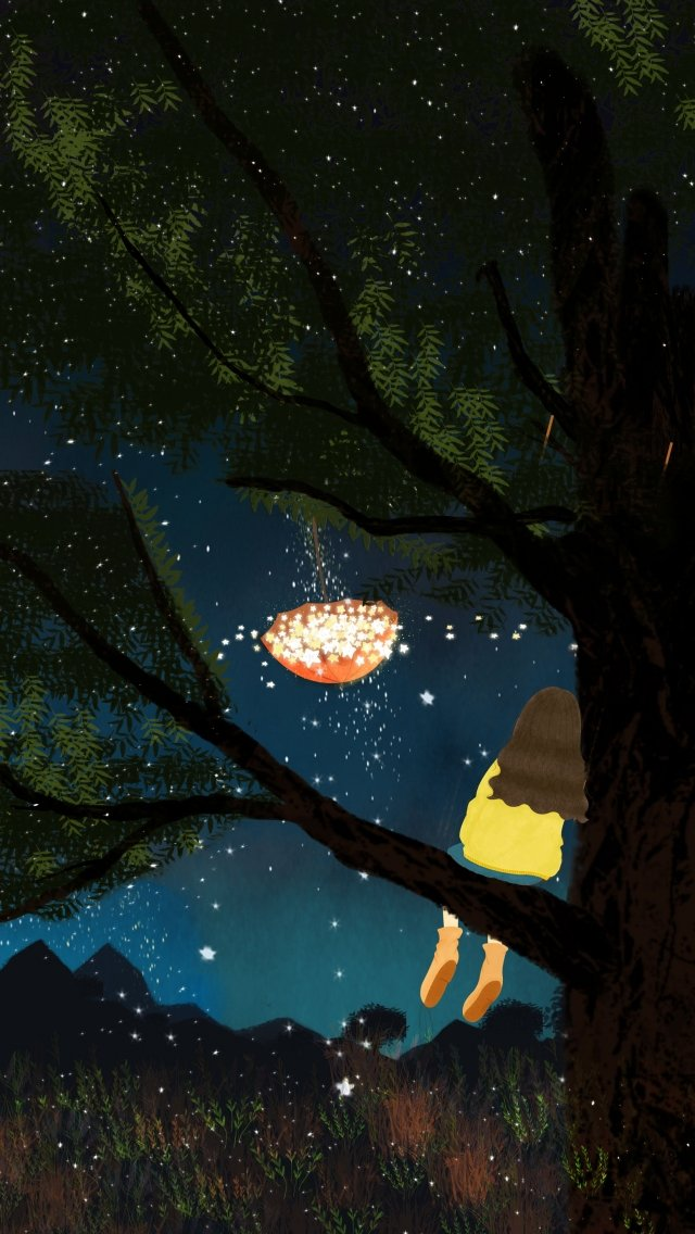 midsummer night night forest mountain, Plant, Tree, Star illustration image