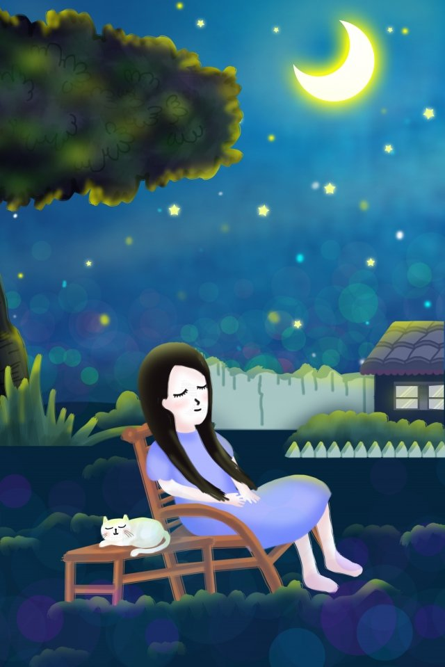 midsummer night summer starry sky moon, Girl, White Cat, Cool Down illustration image