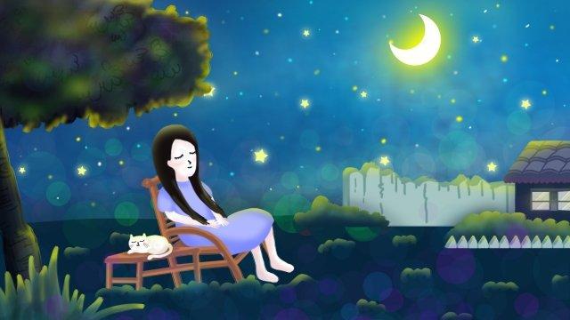 Verão de sol noite céu estrelado lua menina gato branco tirar mão fria ilustrações desenhadas Noite de verão Verão CéuEstrelado  Moon  Menina PNG E PSD illustration image