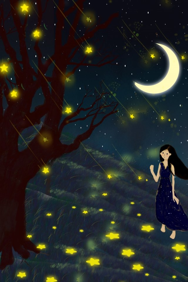 midsummer night tree star moon, Girl, Night, Dream illustration image