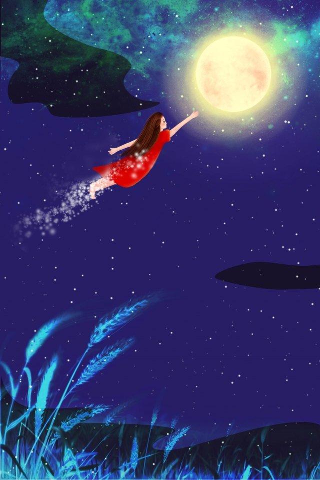 Сон в летнюю ночь Синий Маленькая девочка Лунный фон Сон в летнююдевочка  Лунный  фон PNG и PSD illustration image