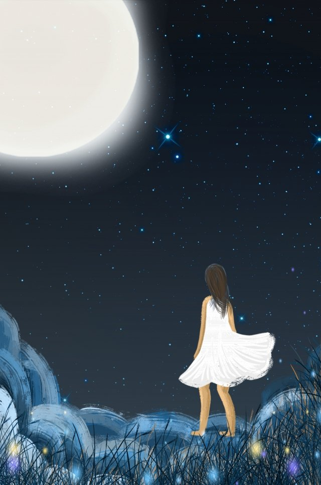 midsummer nights dream hand painted night view white, Girl, Moon, Ad illustration image