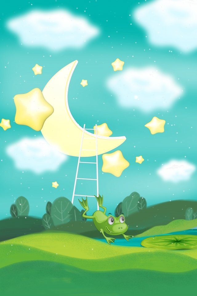 midsummer nights dream rural cartoon moonlight background, Little Beautiful, Moon, Cloud illustration image