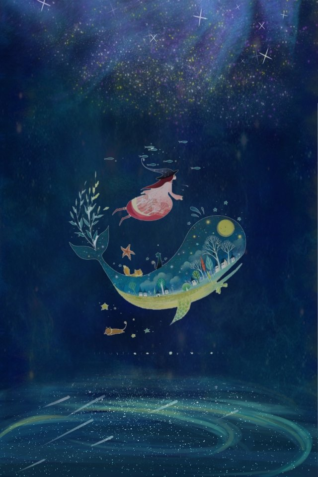 midsummer nights dream starry sky star sea, Girl, Whale, Dream illustration image