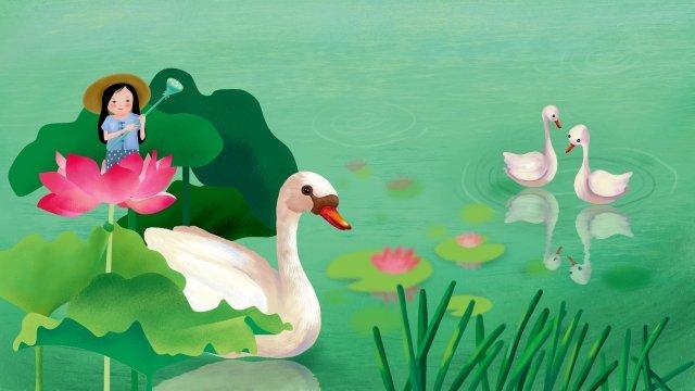 仲夏夏天開始的夏天池塘 插畫素材 插畫圖片