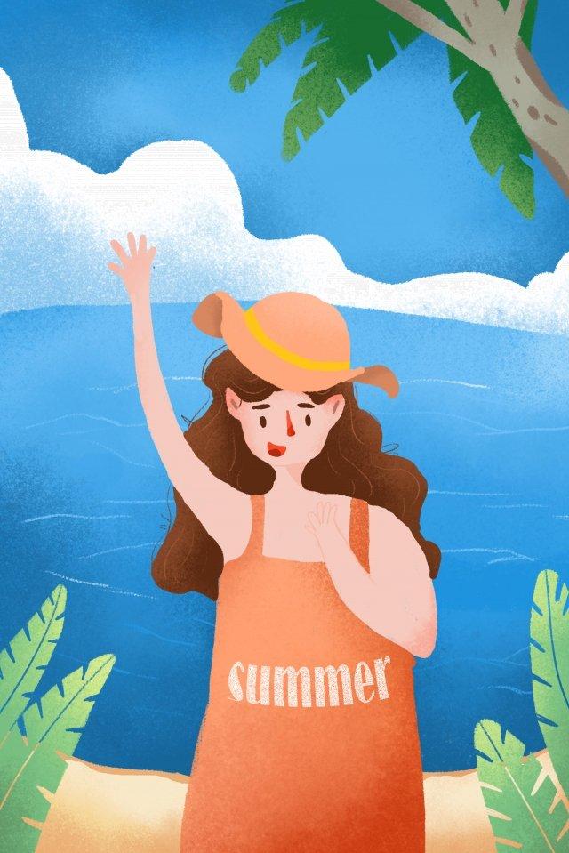 夏休みシーズンの海辺の観光イラストレーション 真夏 夏 休暇 シーズン 旅行する 海辺 三亜 イラスト イラスト真夏  夏  休暇 PNGおよびPSD illustration image